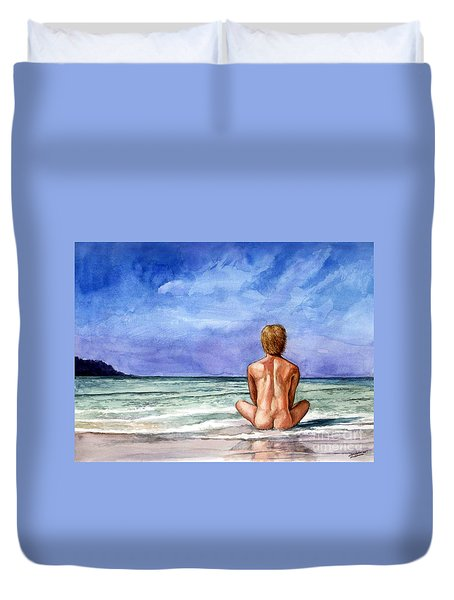 Naked Male Sleepy Ocean Duvet Cover