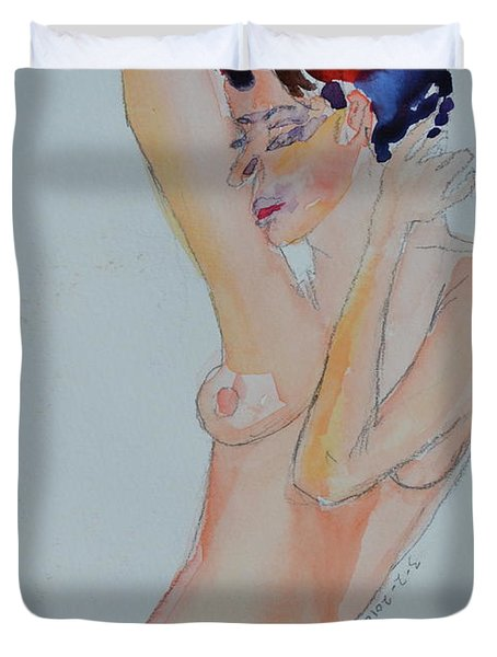 Duvet Cover featuring the painting Naked Noelle by Beverley Harper Tinsley