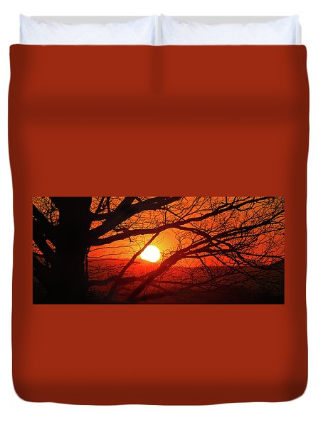 Naked Tree At Sunset, Smith Mountain Lake, Va. Duvet Cover