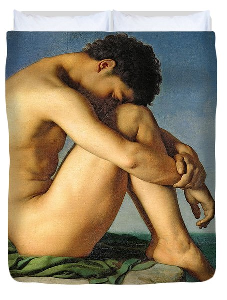 Naked Young Man Sitting By The Sea, 1836 Duvet Cover