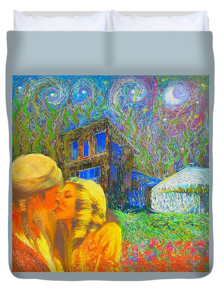 Duvet Cover featuring the painting Nalnee And James by Hidden Mountain