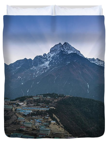 Duvet Cover featuring the photograph Namche And Thamserku Peak Morning Sunrays by Mike Reid
