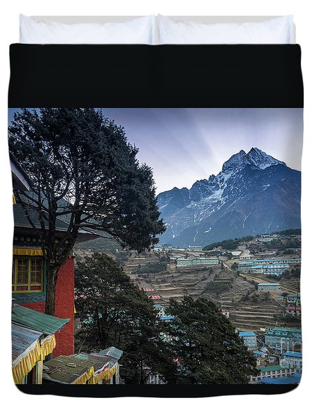 Duvet Cover featuring the photograph Namche Monastery Morning Sunrays by Mike Reid