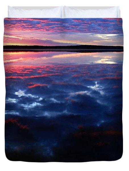Namekus Lake Sunrise Duvet Cover by Larry Ricker