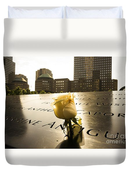 Names Engraved In Bronze Plates With Rose At National September Memorial Duvet Cover by Perry Van Munster