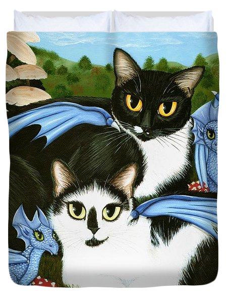 Nami And Rookia's Dragons - Tuxedo Cats Duvet Cover