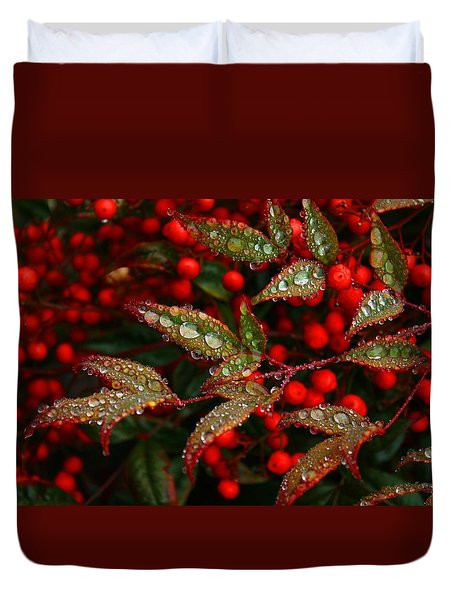 Nandinas In The Rain Duvet Cover