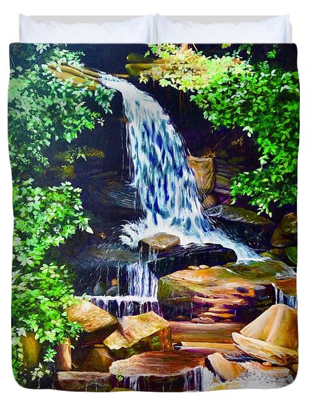 Nantahala Waterfall Duvet Cover