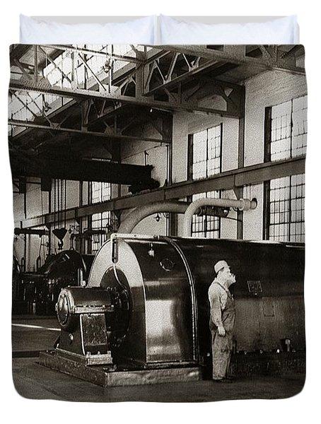 Nanticoke Pa Electrical Generators Glen Alden Mines Power Plant 1945 Duvet Cover