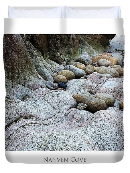 Duvet Cover featuring the digital art Nanven Cove by Julian Perry