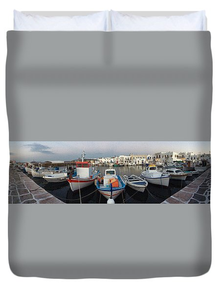Naoussa Village Island Greece Duvet Cover