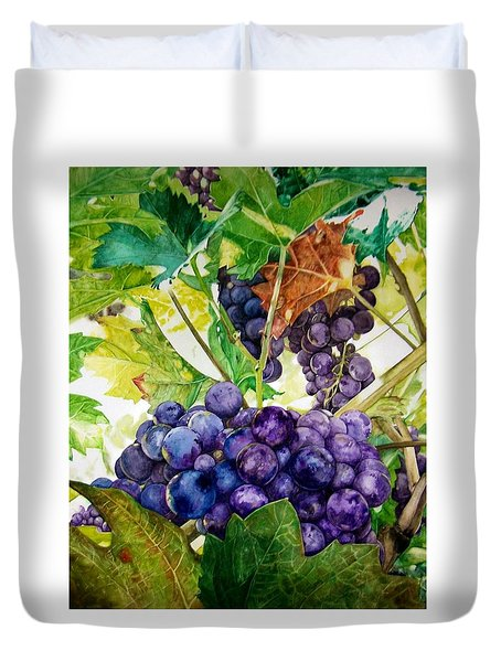 Duvet Cover featuring the painting Napa Harvest by Lance Gebhardt