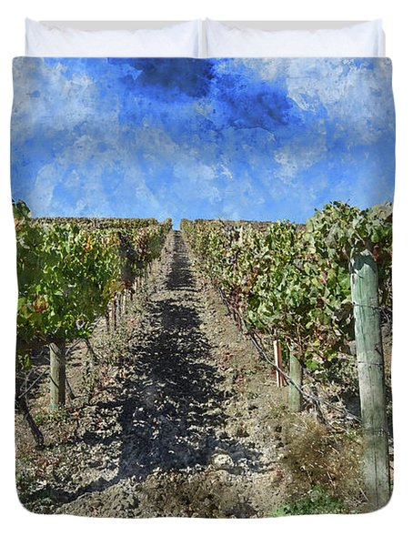 Napa Valley Vineyard - Rows Of Grapes Duvet Cover