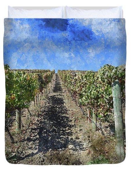 Napa Valley Vineyard - Rows Of Grapes Duvet Cover