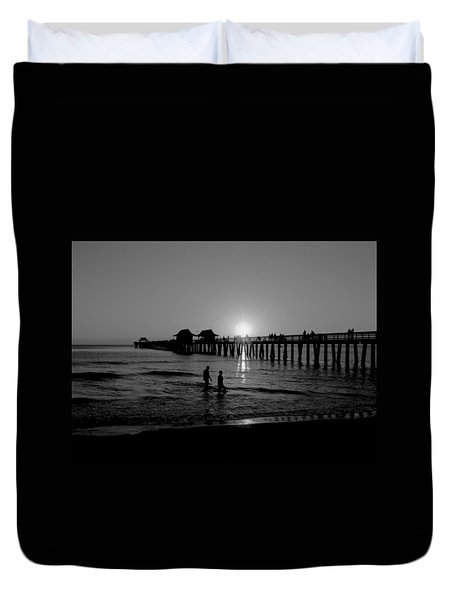 Naples Florida Pier Sunset Duvet Cover