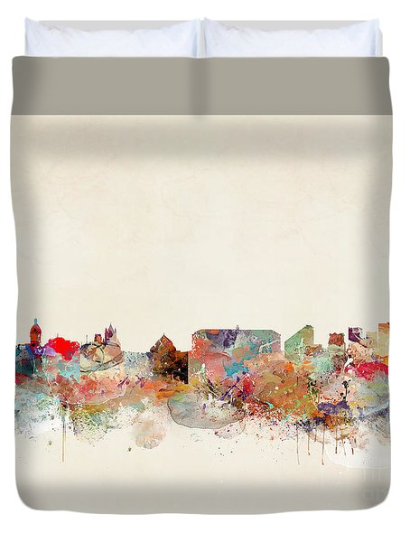 Duvet Cover featuring the painting Naples Italy by Bri B