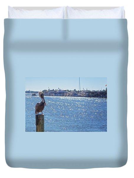 Duvet Cover featuring the photograph Naples Pelican by Lars Lentz