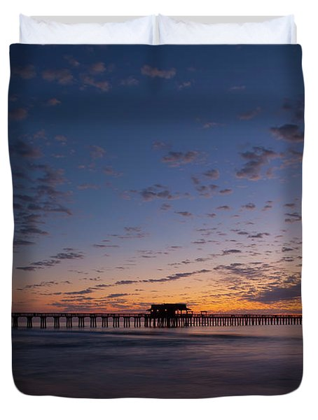 Naples Pier Magic Hour Duvet Cover