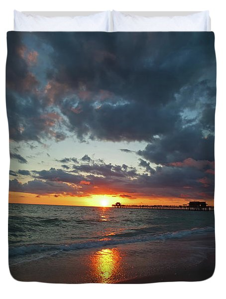 Naples Pier Sunset  Duvet Cover