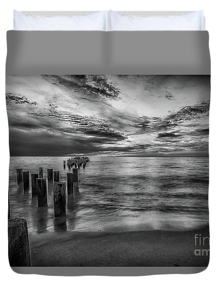 Naples Sunset In Black And White Duvet Cover