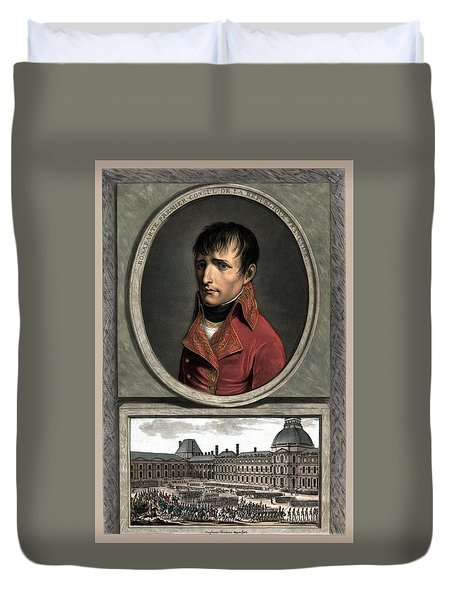 Duvet Cover featuring the painting Napoleon Bonaparte And Troop Review by War Is Hell Store