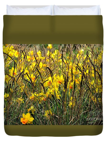 Narcissus And Grasses Duvet Cover by Tanya Searcy