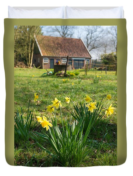 Duvet Cover featuring the photograph Narcissus Flowers by Hans Engbers