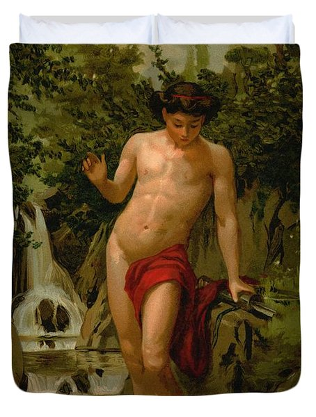 Narcissus In Love With His Own Reflection Duvet Cover by Dionisio Baixeras-Verdaguer