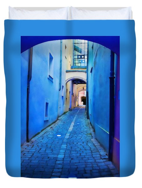 Narrow Blue Passage  Duvet Cover