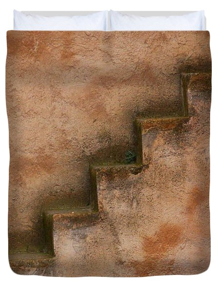 Duvet Cover featuring the photograph Narrow Stairs by Ramona Johnston