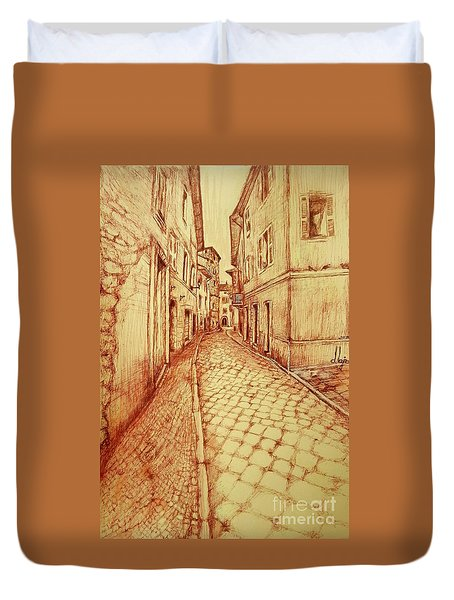 Narrow Street Of Lovere Italy Duvet Cover