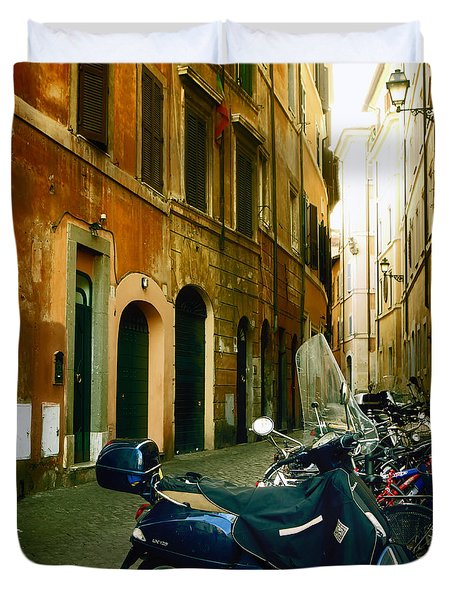 narrow streets in Rome Duvet Cover by Joana Kruse
