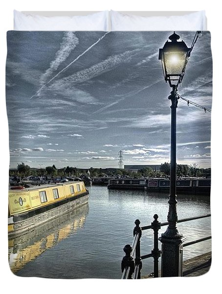 Narrowboat Idly Dan At Barton Marina On Duvet Cover by John Edwards
