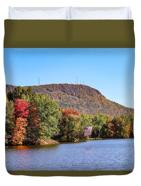 Nashawannuck Pond Fall Colors Duvet Cover