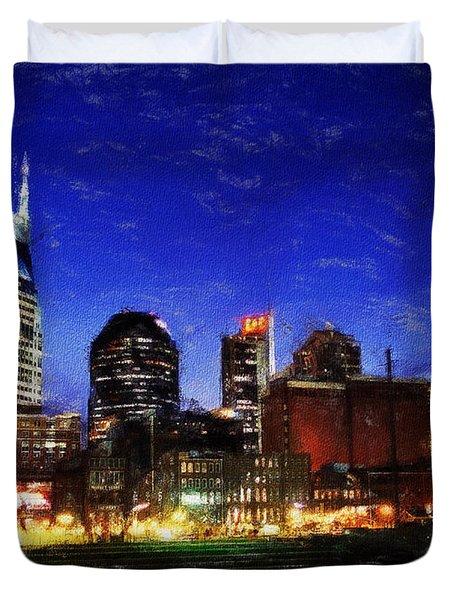 Nashville At Twilight Duvet Cover
