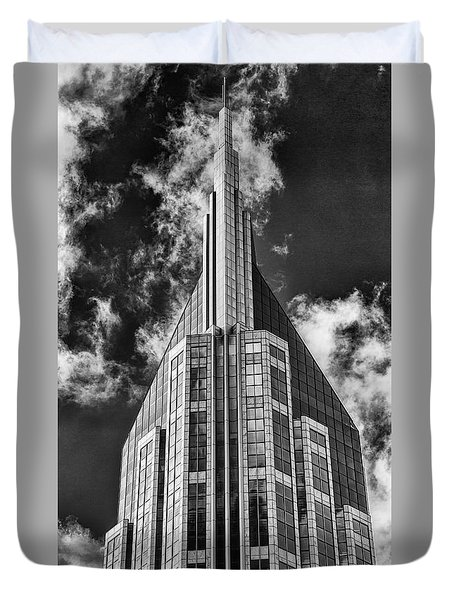 Duvet Cover featuring the photograph Nashville Att Building by Stephen Stookey