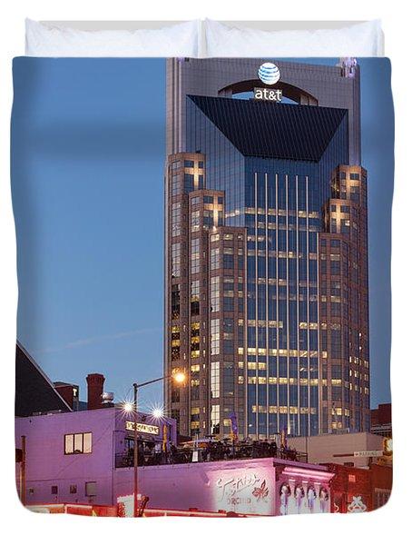 Duvet Cover featuring the photograph Nashville - Batman Building by Brian Jannsen
