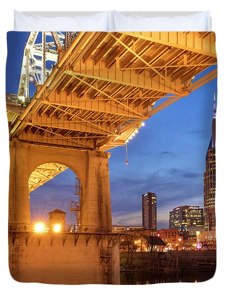 Duvet Cover featuring the photograph Nashville Bridge IIi by Brian Jannsen