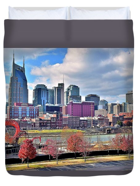 Duvet Cover featuring the photograph Nashville Clouds by Frozen in Time Fine Art Photography