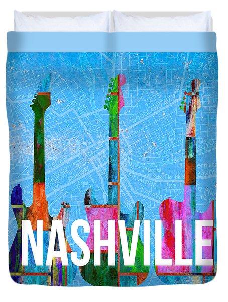 Nashville Guitars Music Scene Duvet Cover