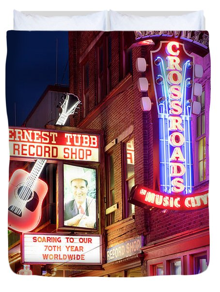 Duvet Cover featuring the photograph Nashville Signs by Brian Jannsen