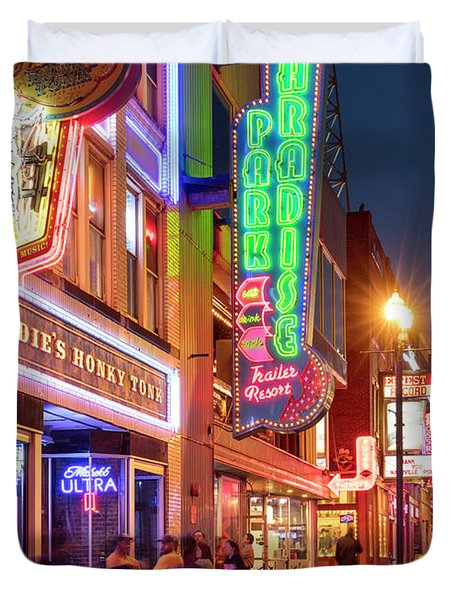 Duvet Cover featuring the photograph Nashville Signs II by Brian Jannsen