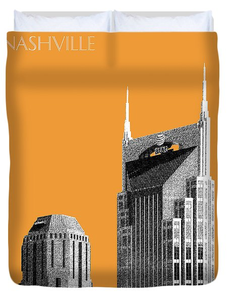 Nashville Skyline At And T Batman Building - Orange Duvet Cover by DB Artist