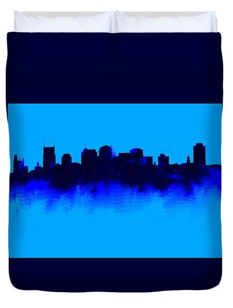 Nashville  Skyline Blue  Duvet Cover by Enki Art