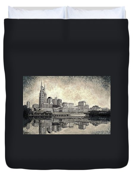 Duvet Cover featuring the mixed media Nashville Skyline II by Janet King