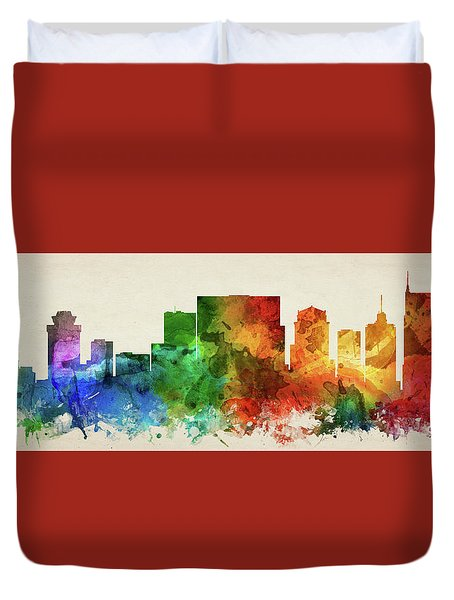 Nashville Skyline Panorama Ustnna-pa03 Duvet Cover by Aged Pixel