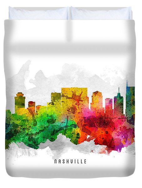 Nashville Tennessee Cityscape 12 Duvet Cover by Aged Pixel
