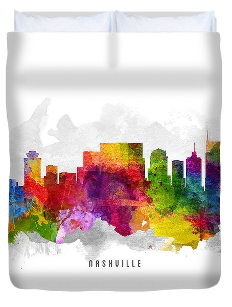Nashville Tennessee Cityscape 13 Duvet Cover by Aged Pixel