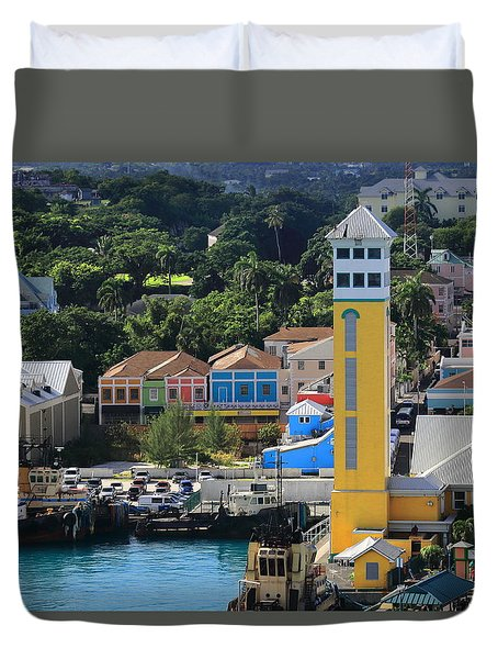 Duvet Cover featuring the photograph Nassau Bahamas by Coby Cooper