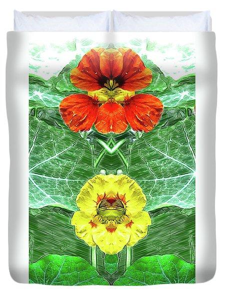 Nasturtium Mirror Image Pareidolia Duvet Cover